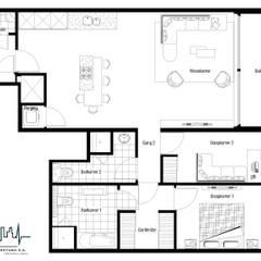 Remodelacion y diseño interior para apartamento: Cuartos de estilo  por Vida Arquitectura, Moderno