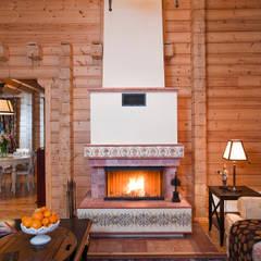 Salas de estar  por Design Studio Yuriy Zimenko, Campestre Madeira Acabamento em madeira