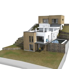 Maison moderne à Carnoux: Maison individuelle de style  par MEDAH ARCHITECTURE ET ECO LOGIS