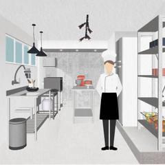 Perspectiva 3D: Espaços gastronômicos  por Juliana Bottoni Arquitetura