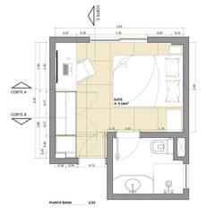 Planta Baixa: Quartos  por Juliana Bottoni Arquitetura