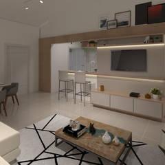 SALA CONJUGADA E AMPLA: Salas de estar escandinavas por Traço B Arquitetura