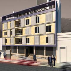 EDIFICIO DE OFICINAS: Estudios y oficinas de estilo moderno por MVQ ARQUITECTOS