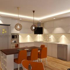 Sanal Mimarlık Hizmetleri – Mutfak ve Oturma Odası Tasarımı:  tarz Mutfak üniteleri