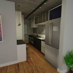 Cozinha Estreita: Cozinhas embutidas  por Arq. Bruno Luz