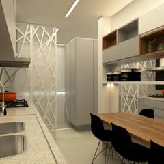 PROJETO DE INTERIORES: Cozinhas embutidas  por Ana Paula Onzi Arquitetura