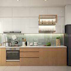 THIẾT KẾ CĂN HỘ 58M2 1 PHÒNG NGỦ, QUẬN GÒ VẤP CỦA ANH HƯNG:  Tủ bếp by Công ty TNHH Nội Thất Mạnh Hệ