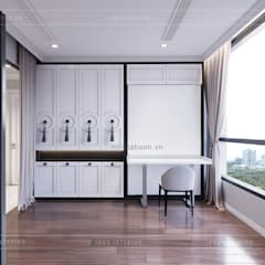 Thiết kế căn hộ Landmark 2 Vinhomes Central Park - Phong cách Tân Cổ Điển:  Phòng ngủ by ICON INTERIOR