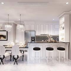 Thiết kế căn hộ Landmark 2 Vinhomes Central Park - Phong cách Tân Cổ Điển:  Phòng ăn by ICON INTERIOR