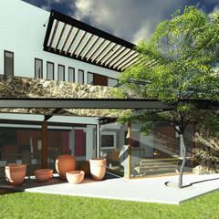 Fachada de Recibidor y Jacaranda: Casas de estilo ecléctico por Taller de Materia Arquitectónica