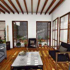 Ventanas y pergolas: Salas de estilo  por Taller de Materia Arquitectónica