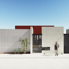 Fachada Principal: Casas de estilo ecléctico por Taller de Materia Arquitectónica