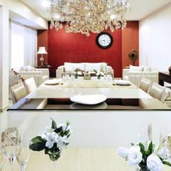 LIVING CONTEMPORÂNEO COM TOQUE CLÁSSICO: Salas de jantar clássicas por Adriana Scartaris design e interiores