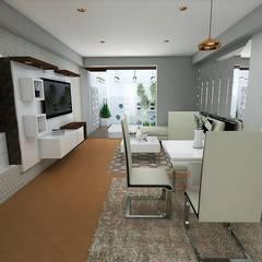 Home Staging - Departamento : Comedores de estilo  por Mauriola Arquitectos, Moderno Plata/Oro