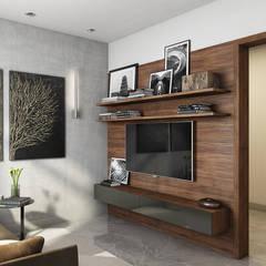 Фьюжн на Заозёрной: Гостиная в . Автор – FISHEYE Architecture & Design