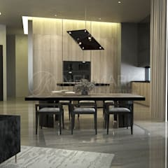 Porsche Tower Apartment. Апартаменты в Porsche Design Tower.: Столовые комнаты в . Автор – Марина Анисович, студия NEUMARK
