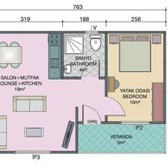 Modern Prefabrik – 40 metrekare prefabrik ev planı: akdeniz tarzı tarz Bahçe