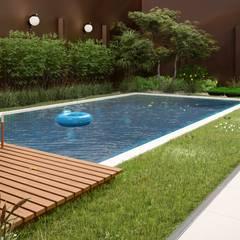 Área de lazer: Piscinas de jardim  por Olivia Paterno