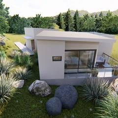 Diseño vivienda en ladera con desniveles 104m2 en Peñuelas : Parcelas de agrado de estilo  por Ekeko arquitectura  - Coquimbo, Minimalista