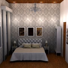 RESTAURACIÓN CASA ESTILO FRANCÉS: Dormitorios de estilo  por lucia bernal arbuatti diseño interior