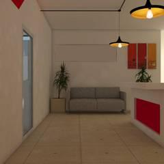 SALA DE ESPERA Y RECEPCIÓN: Oficinas y tiendas de estilo  por FARO 105 Arquitectos