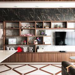 Contemporary style at Tenteram Peak:  Living room by Singapore Carpentry Interior Design Pte Ltd