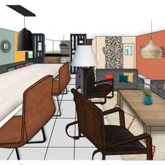 perspective d'ensemble de la pièce à vivre: Salon de style de style Colonial par MarieHélèneD&Co