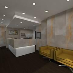 Recepção Ginásio Phive: Lojas e espaços comerciais  por Minna Interiores