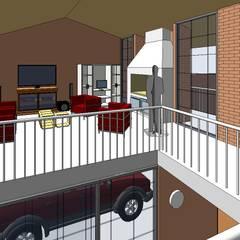 Vista desde el Comedor hacia la cochera y puerta de ingreso: Livings de estilo  por Arq.SusanaCruz