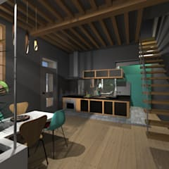 Réaménagement d'une maison de ville sur 2 niveaux: Cuisine intégrée de style  par LADD by Audrey Scotto