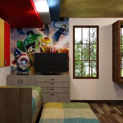 Residencia Campestre Lomeli: Recámaras infantiles de estilo  por Arq. Rodrigo Culebro Sánchez