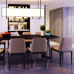 Transitional Style at Thomson Terrace:  Dining room by Singapore Carpentry Interior Design Pte Ltd