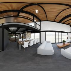 Vista 360 Interior: Salas de estilo industrial por Arq. Rodrigo Culebro Sánchez