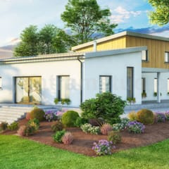 3D Exterior Small Pod House of Rendering Design Services ideas by Yantram Architectural Visualisation Studio, London - UK:  Bungalow by Yantram Architectural Design Studio