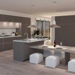 PARTICOLARE ISOLA CON LAVELLO E PIANO TAVOLONE CON SGABELLI IN EFFETTO PELLE BIANCA: Cucina attrezzata in stile  di Lambda Design