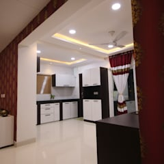 Begonia Homes | 2BHK | Semi Furnished Home:  Dining room by Enrich Interiors & Decors,Asian Plywood