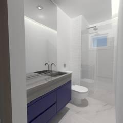 Apartamento decor industrial - 72 m²: Banheiros  por Ana Luiza Ribeiro Arquitetura e Interiores