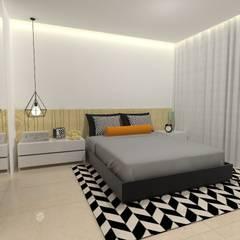 Apartamento decor industrial - 72 m²: Quartos  por Ana Luiza Ribeiro Arquitetura e Interiores