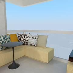 Apartamento decor industrial - 72 m²: Terraços  por Ana Luiza Ribeiro Arquitetura e Interiores