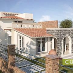 Exterior: Casas de campo de estilo  por CUD & A CONSTRUCCION URBANISMO DISEÑO Y ARQUITECTURA SA DE CV