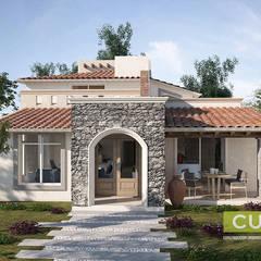 Fachada Principal: Casas de campo de estilo  por CUD & A CONSTRUCCION URBANISMO DISEÑO Y ARQUITECTURA SA DE CV
