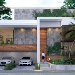 fachada frontal diurna: Casas unifamiliares de estilo  por ELOARQ