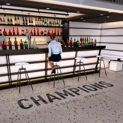 barra de Bar Champions: Casas unifamiliares de estilo  por ELOARQ