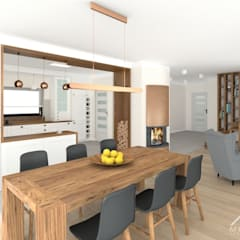 Wnętrza domu w Łuczycach: styl , w kategorii Jadalnia zaprojektowany przez Mleczko architektura
