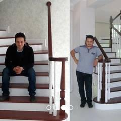 ÖZ AHŞAP MERDİVEN – Beton üstü ahşap merdiven :  tarz Merdivenler