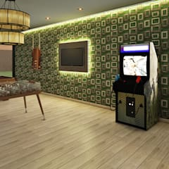 Casa de Campo : Salas de entretenimiento de estilo  por Luis Escobar Interiorismo