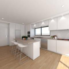 Cozinha em Alcainça | Projecto 3D: Cozinhas  por DR Arquitectos
