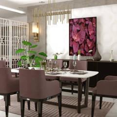 تصميم فراغ معيشة وطعام:  غرفة السفرة تنفيذ AmiraNayelDesigns