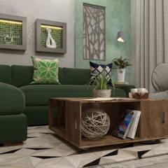 تصميم فراغ معيشة ومطبخ مفتوح:  غرفة المعيشة تنفيذ AmiraNayelDesigns, حداثي
