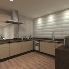 Apartamento 220mts: Cozinhas embutidas  por NSFAZ ARQUITETURA E CONSTRUÇÃO
